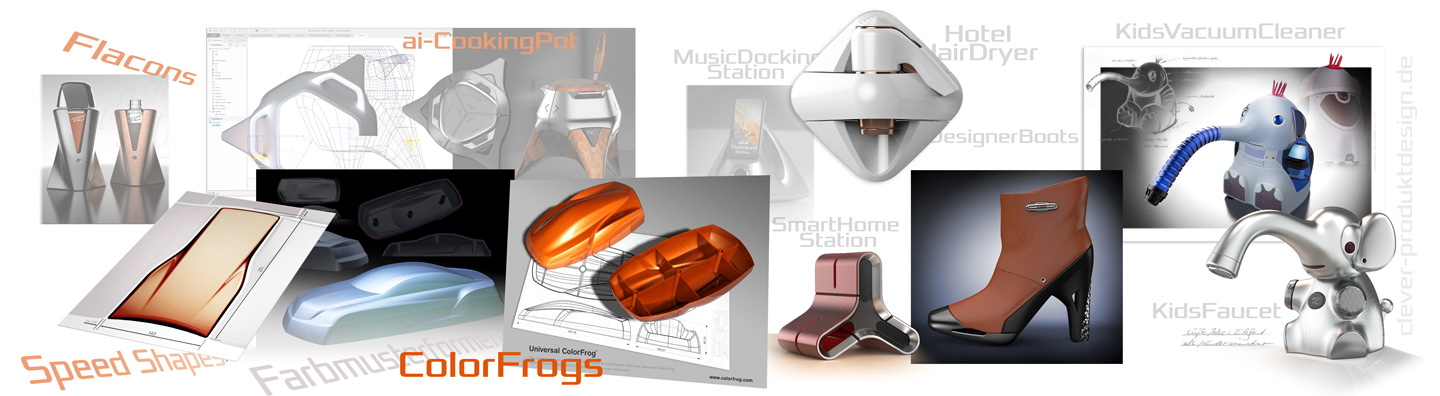 Color-Frogs, Speed-Shapes, AI-Stations, Boots, Products designed by Thomas Clever