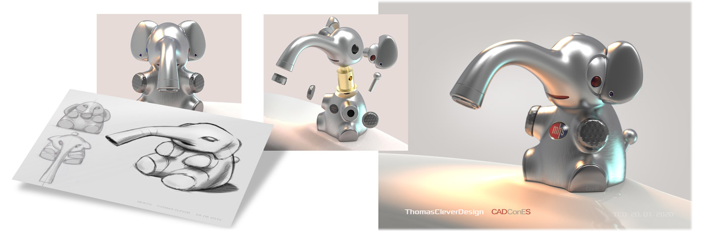 Product Design-Faucet for Kids in the shape of a little elephant