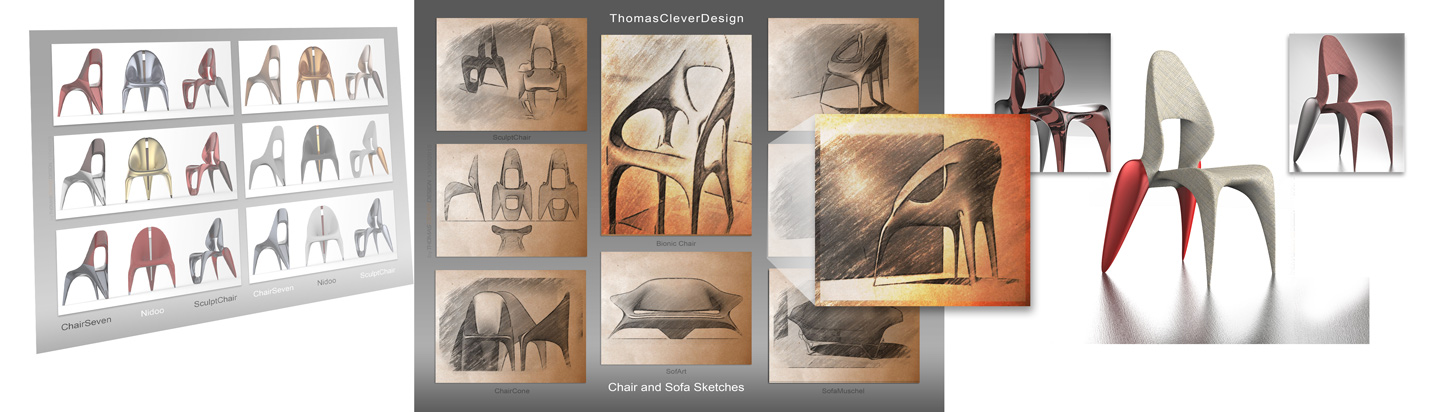 Thomas Clever designed Chairs, Render and Sketches